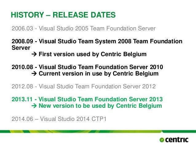 HISTORY – RELEASE DATES 2006.03 - Visual Studio 2005 Team Foundation Server 2008.09 - Visual Studio Team System 2008 Team ...