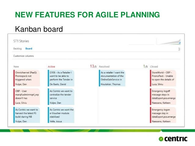 NEW FEATURES FOR AGILE PLANNING Kanban board TITLE PRESENTATION December 17, 2014