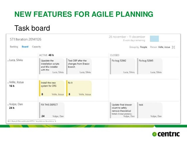 NEW FEATURES FOR AGILE PLANNING Task board TITLE PRESENTATION December 17, 2014