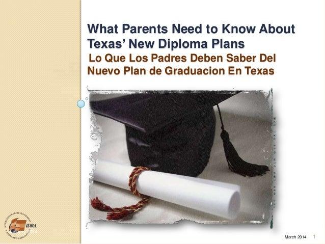"""What Parents Need to Know About Texas"""" New Diploma Plans Lo Que Los Padres Deben Saber Del Nuevo Plan de Graduacion En Tex..."""