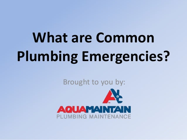 What are Common Plumbing Emergencies? Brought to you by:
