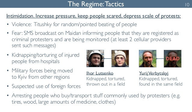 The Regime: Tactics  Intimidation. Increase pressure, keep people scared, depress scale of protests:  • Violence: Titushky...