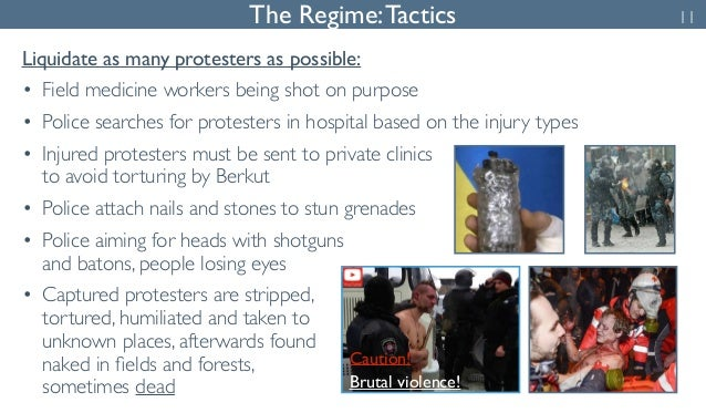 The Regime: Tactics 11  Liquidate as many protesters as possible:  • Field medicine workers being shot on purpose  • Polic...