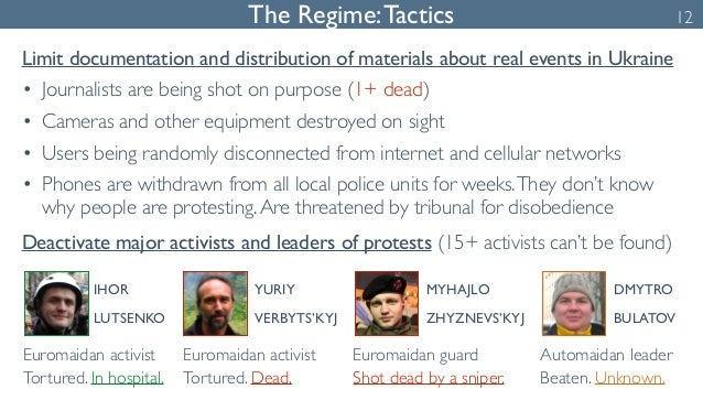 The Regime: Tactics 12  Limit documentation and distribution of materials about real events in Ukraine  • Journalists are ...