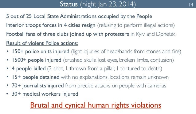 Status (night Jan 23, 2014) 14  5 out of 25 Local State Administrations occupied by the People  Interior troops forces in ...
