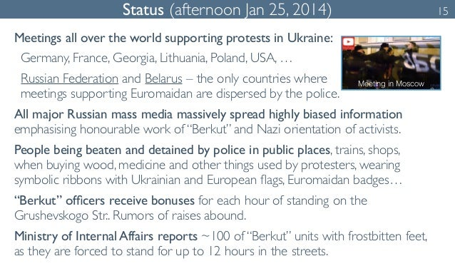 Status (afternoon Jan 25, 2014) 15  Meetings all over the world supporting protests in Ukraine:  Germany, France, Georgia,...