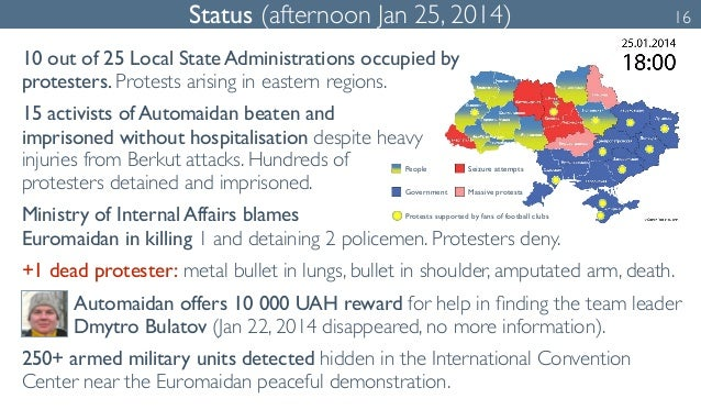 Status (afternoon Jan 25, 2014) 16  10 out of 25 Local State Administrations occupied by  protesters. Protests arising in ...