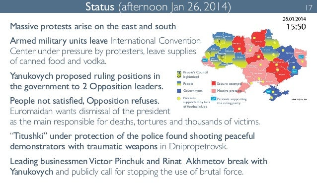 Status (afternoon Jan 26, 2014) 17  Massive protests arise on the east and south  Armed military units leave International...