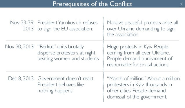 Prerequisites of the Conflict 2  Nov 23-29,  2013  President Yanukovich refuses  to sign the EU association.  Massive peac...