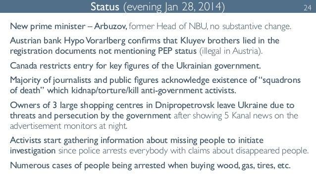 Status (evening Jan 28, 2014) 24  New prime minister – Arbuzov, former Head of NBU, no substantive change.  Austrian bank ...