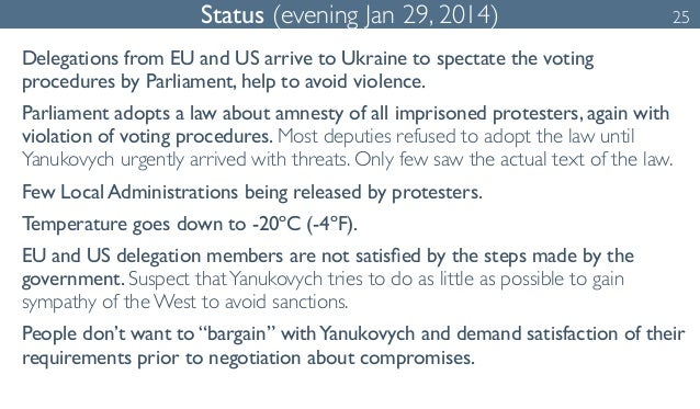 Status (evening Jan 29, 2014) 25  Delegations from EU and US arrive to Ukraine to spectate the voting  procedures by Parli...