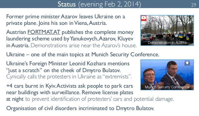 Status (evening Feb 2, 2014) 29  Former prime minister Azarov leaves Ukraine on a  private plane. Joins his son in Viena, ...