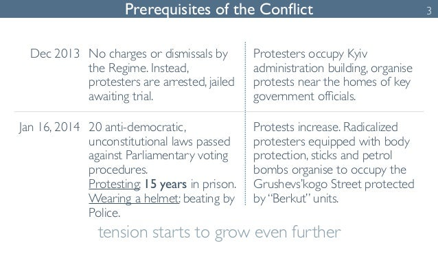 Prerequisites of the Conflict 3  Dec 2013 No charges or dismissals by  the Regime. Instead,  protesters are arrested, jail...
