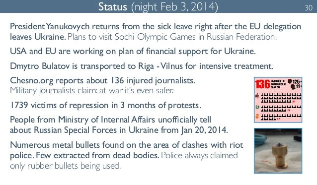 Status (night Feb 3, 2014) 30  President Yanukovych returns from the sick leave right after the EU delegation  leaves Ukra...