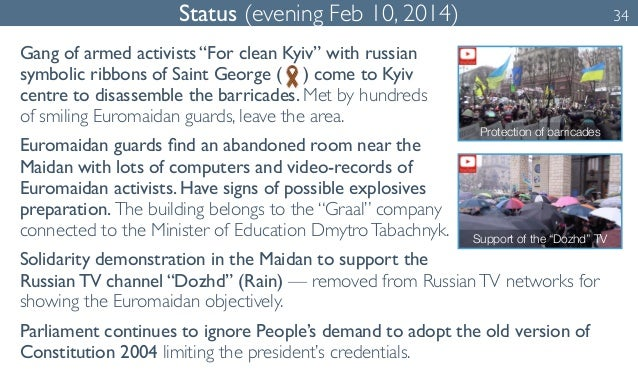 """Status (evening Feb 10, 2014) 34  Gang of armed activists """"For clean Kyiv"""" with russian  symbolic ribbons of Saint George ..."""