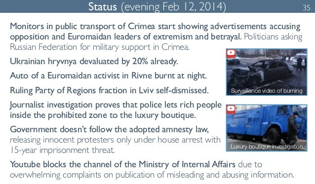 Status (evening Feb 12, 2014) 35  Monitors in public transport of Crimea start showing advertisements accusing  opposition...