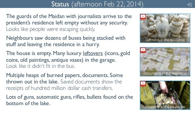 Status (afternoon Feb 22, 2014) 45  The guards of the Maidan with journalists arrive to the  president's residence left em...