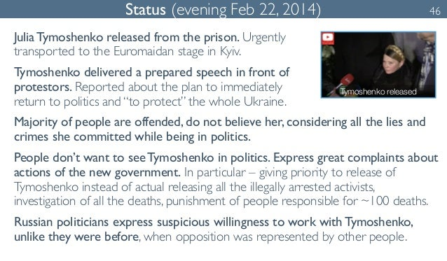 Status (evening Feb 22, 2014) 46  Julia Tymoshenko released from the prison. Urgently  transported to the Euromaidan stage...