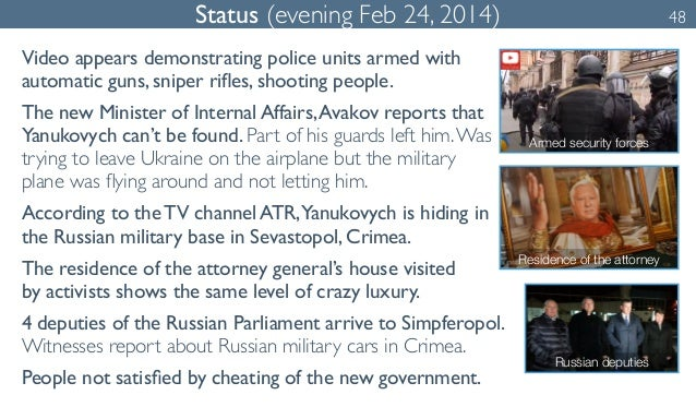 Status (evening Feb 24, 2014) 48  Video appears demonstrating police units armed with  automatic guns, sniper rifles, shoo...