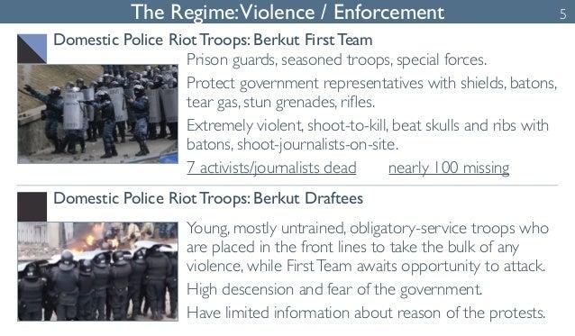 The Regime: Violence / Enforcement  Domestic Police Riot Troops: Berkut First Team  Prison guards, seasoned troops, specia...