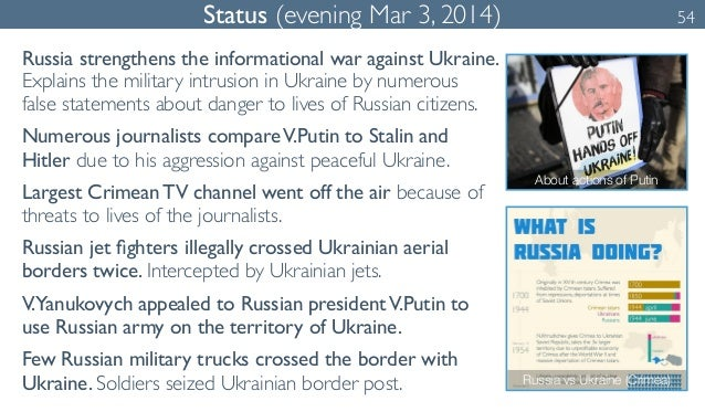 Status (evening Mar 3, 2014) 54  Russia strengthens the informational war against Ukraine.  Explains the military intrusio...