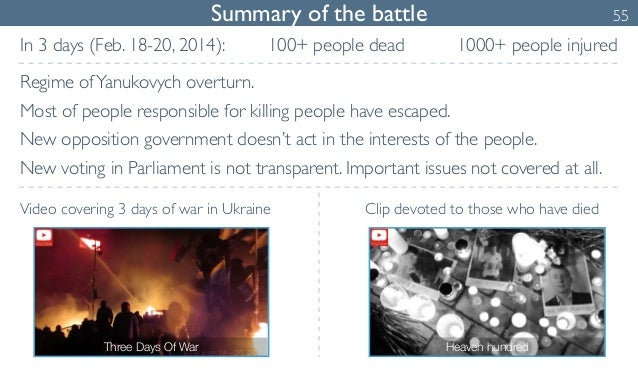Summary of the battle 55  In 3 days (Feb. 18-20, 2014):  Regime of Yanukovych overturn.  Most of people responsible for ki...