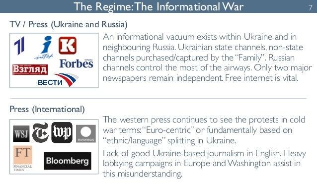 The Regime: The Informational War  TV / Press (Ukraine and Russia)  Press (International)  An informational vacuum exists ...