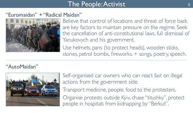 """The People: Activist 8  """"Euromaidan"""" + """"Radical Maidan""""  """"AutoMaidan""""  Believe that control of locations and threat of for..."""