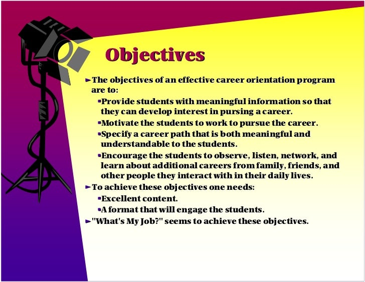 Objectives ƒThe Objectives Of An Effective Career ... Pictures