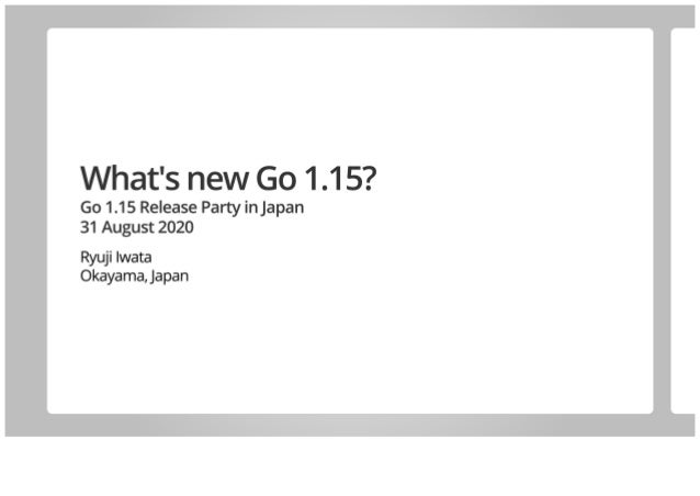What's new Go 1.15?