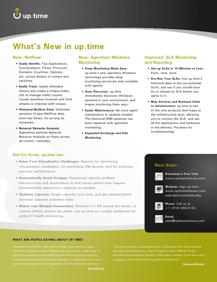 What's new in up.time new: netFlow                                       new: agentless Windows                          i...
