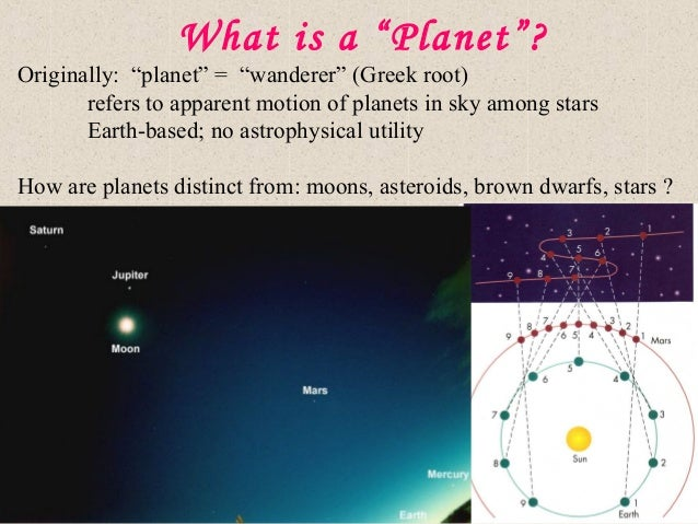 """What is a """"Planet""""? Originally: """"planet"""" = """"wanderer"""" (Greek root) refers to apparent motion of planets in sky among stars..."""