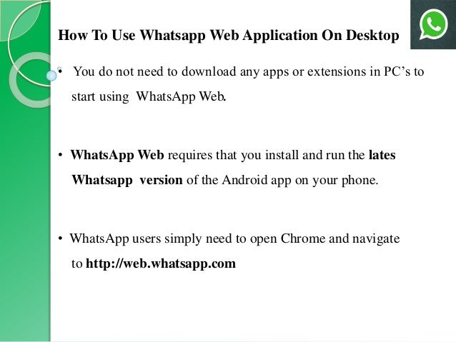 application 4 how to use whatsapp web application on desktop