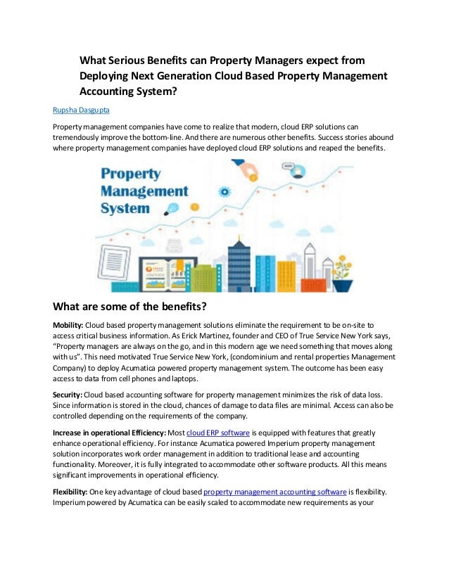 What Serious Benefits can Property Managers expect from Deploying Next Generation Cloud Based Property Management Accounti...