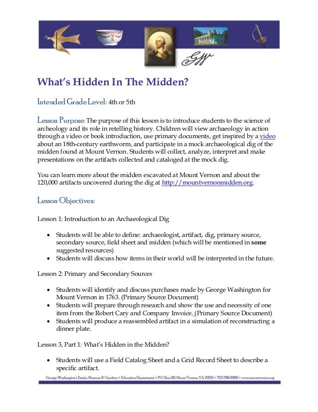What's Hidden In The Midden? Intended Grade Level: 4th or 5th Lesson Purpose: The purpose of this lesson is to int...