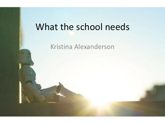 What the school needs   Kristina Alexanderson