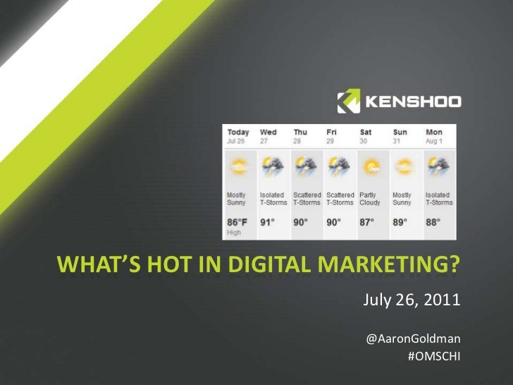 What's hot in digital marketing?<br />July 26, 2011<br />@AaronGoldman<br />#OMSCHI<br />