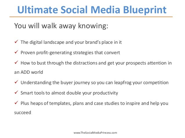 Ultimate Social Media Blueprint www.TheSocialMediaPrincess.com You will walk away knowing:  The digital landscape and you...