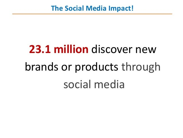 23.1 million discover new brands or products through social media The Social Media Impact!