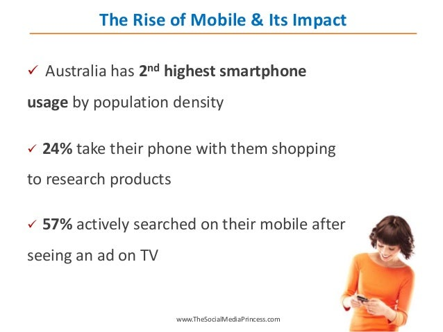  Australia has 2nd highest smartphone usage by population density  24% take their phone with them shopping to research p...