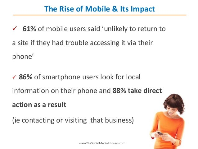 61% of mobile users said 'unlikely to return to a site if they had trouble accessing it via their phone'  86% of smartp...