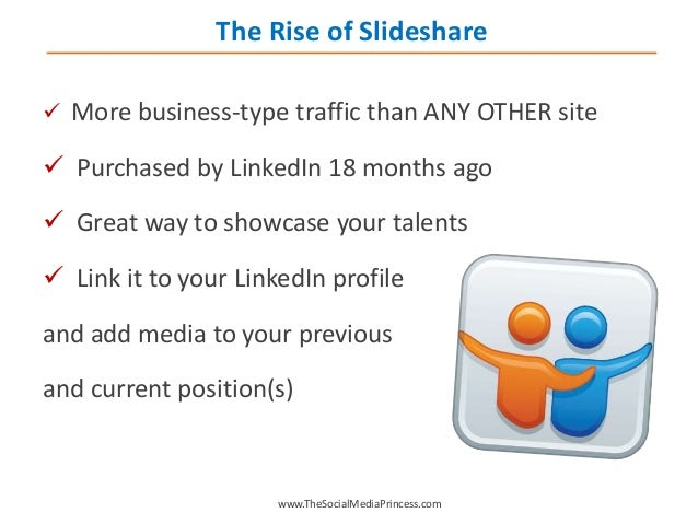  More business-type traffic than ANY OTHER site  Purchased by LinkedIn 18 months ago  Great way to showcase your talent...