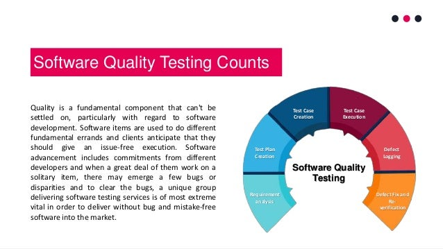 Software Quality Testing Counts Quality is a fundamental component that can't be settled on, particularly with regard to s...