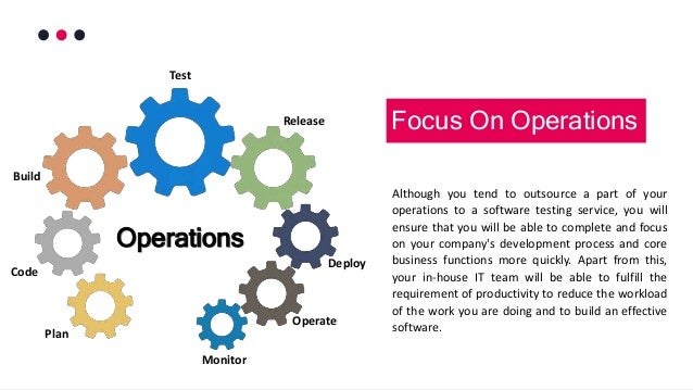 Although you tend to outsource a part of your operations to a software testing service, you will ensure that you will be a...