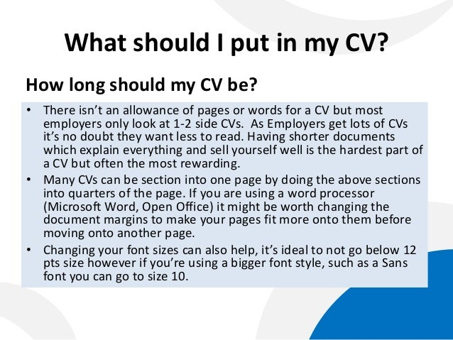 What should a good cv look like
