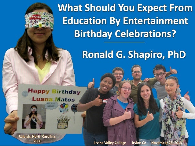 Education by Entertainment Dr. Ronald G. Shapiro Ronald G. Shapiro, Ph.D. Birthday Celebration Birthday Party Happy Birthd...
