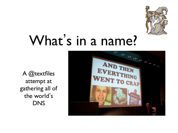 What s in a name? A @textfiles   attempt atgathering all of  the world s      DNS