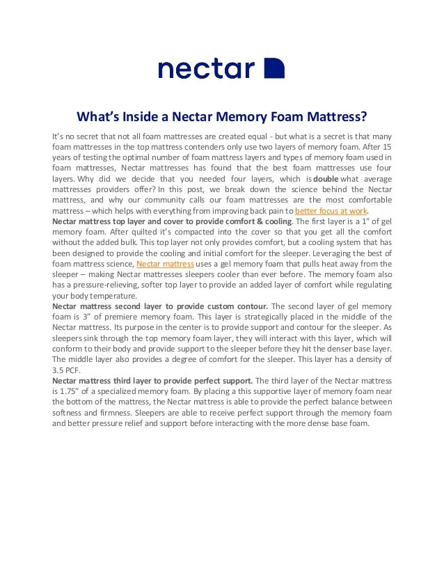 What's Inside a Nectar Memory Foam Mattress? It's no secret that not all foam mattresses are created equal - but what is a...