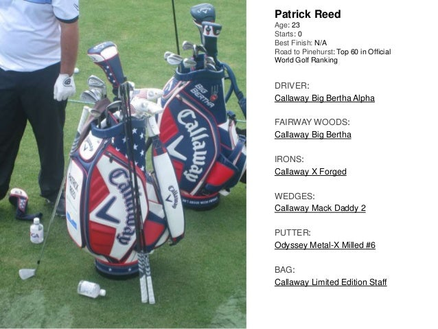 Patrick Reed Age: 23 Starts: 0 Best Finish: N/A Road to Pinehurst: Top 60 in Official World Golf Ranking DRIVER: Callaway ...