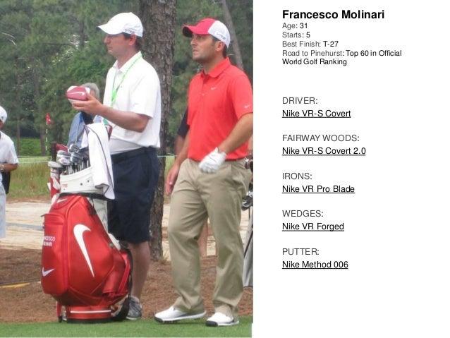 Francesco Molinari Age: 31 Starts: 5 Best Finish: T-27 Road to Pinehurst: Top 60 in Official World Golf Ranking DRIVER: Ni...